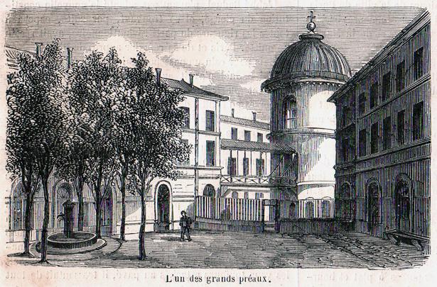"""""""Le Monde Illustré"""" du 8 juillet 1865 sur la prison pour jeunes détenus de la Petite Roquette. L'un des grands préaux."""