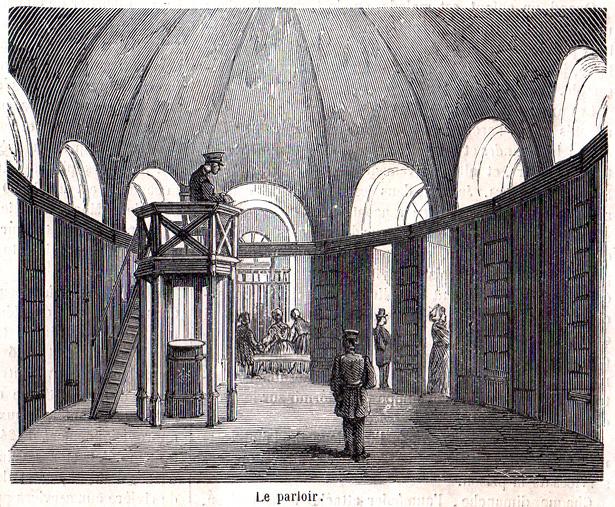 """""""Le Monde Illustré"""" du 8 juillet 1865 sur la prison pour jeunes détenus de la Petite Roquette. Le parloir."""