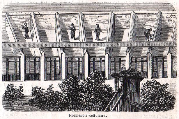 """""""Le Monde Illustré"""" du 8 juillet 1865 sur la prison pour jeunes détenus de la Petite Roquette. Promenoir cellulaire."""