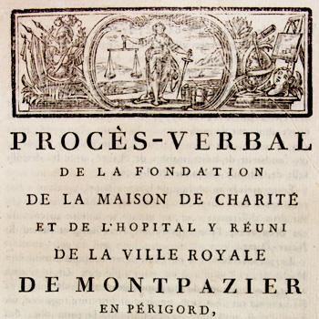 Fac-similé de couverture du procès-verbal de la fondation de la maison de charité et de l'hôpital de la ville royale de Montpazier