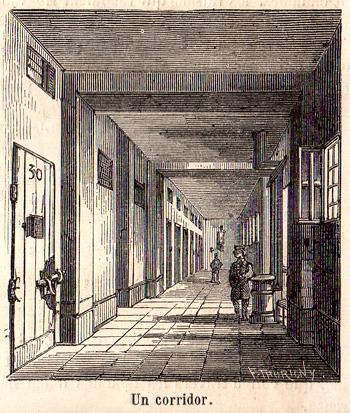 """""""Le Monde Illustré"""" du 8 juillet 1865 sur la prison pour jeunes détenus de la Petite Roquette. Un corridor."""