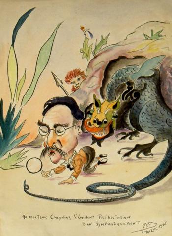 Caricature du Docteur André Cheynier réalisée en 1945 à la prison de Mauzac. Coll. Thomas Laval.