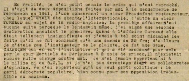 Courrier du Docteur André Ceynier adressé au général de Gaulle