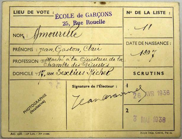 Carte d'électeur de Jean Amourelle, fusillé le 22 juin 1940 à Pessac.