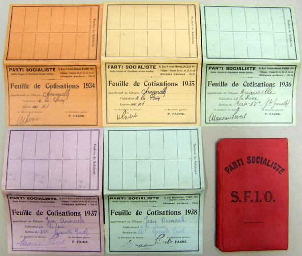 Cartes de cotisation à la SFIO de Jean Amourelle (1934-1938), SHD-DAT, 13 J.
