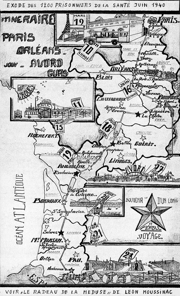 Étapes du repli de la Prison militaire de Paris au départ de l'annexe de la Santé. Dessin de René Blanchet, collection FNDIRP (Paris)
