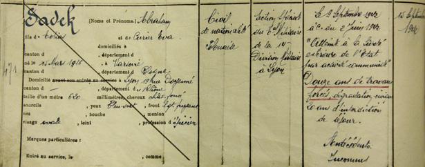 Inscription d'Abraham Sadek au registre d'écrou de la prison militaire de Nontron (Dordogne) en 1942. Source SHD-DAT, Vincennes, 13 J 871.
