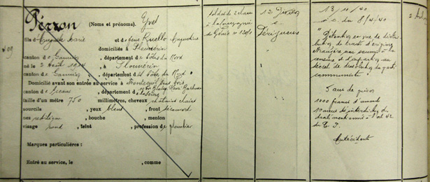 Inscription d'Yves Péron au registre d'écrou de la prison militaire de Nontron (Dordogne), avril 1942. Source SHD-DAT, Vincennes, 13 J 871.