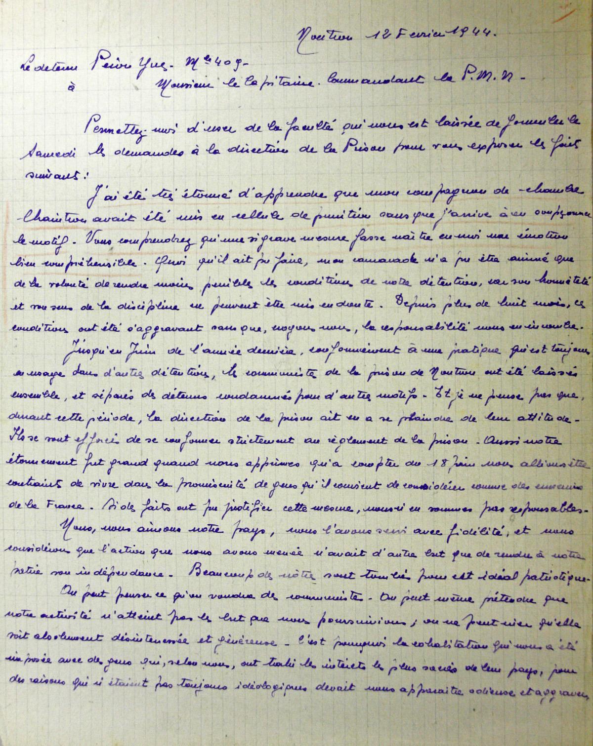 exemple de lettre pour un detenu Yves Péron et les trotskistes de la prison militaire de Nontron en  exemple de lettre pour un detenu