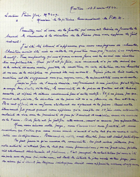 Lettre du détenu Yves Péron, prison militaire de Nontron, 12 février 1944, recto, Service historique de la Défense, département de l'Armée de Terre, 13 J 1425