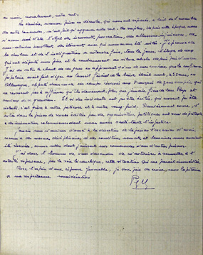 Lettre du détenu Yves Péron, prison militaire de Nontron, 12 février 1944, recto, SHD-DAT 13 J 1425