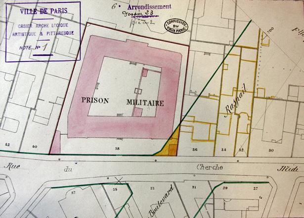 Plan parcellaire de l'expropriation du boulevard Raspail, entre les rues de Sèvres et de Rennes (1907), source : Commission du Vieux Paris.