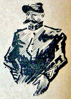 """illustration de Pedro Donga dans """"Les Hommes du Jour"""" du 12 mars 1937. Prison militaire de Paris, rue du Cherche-Midi"""
