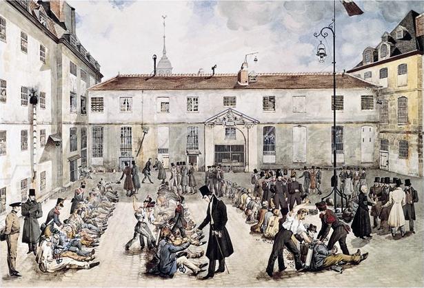 « Bicêtre. Les préparatifs du ferrement », dessin de Gabriel Cloquemin, 1834, © Musée du Domaine Départemental de Sceaux