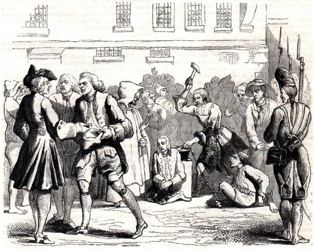 « L'ancien ferrement de la chaîne des forçats, à Bicêtre », dessin extrait de Musée des Familles, avril 1850, p. 201.