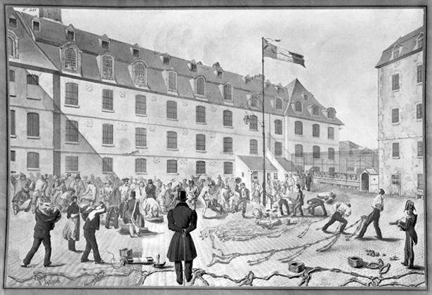 « Préparation du ferrement des forçats à Bicêtre», dessin de Gabriel Cloquemin, 1834, © Musée du Domaine Départemental de Sceaux.