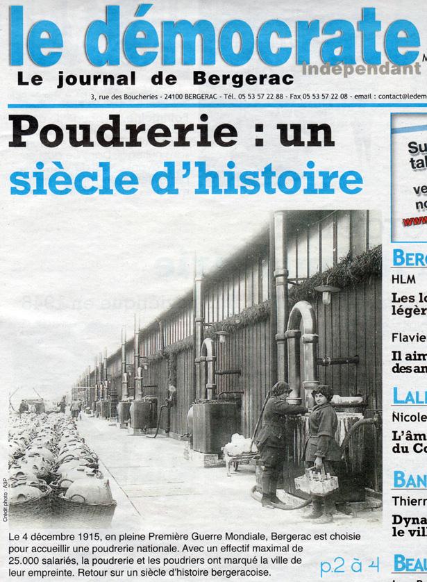 """Dossier """"Poudrerie : un siècle d'histoire"""" paru dans Le Démocrate indépendant – Le journal de Bergerac du 21 décembre 2014."""