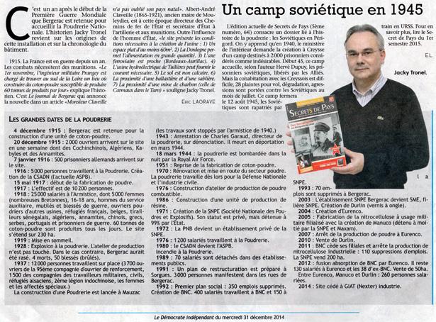 Un camp soviétique à la Poudrerie de Bergerac en 1945. Le Démocrate indépendant, Journal de Bergerac du mercredi 31 décembre 2014.
