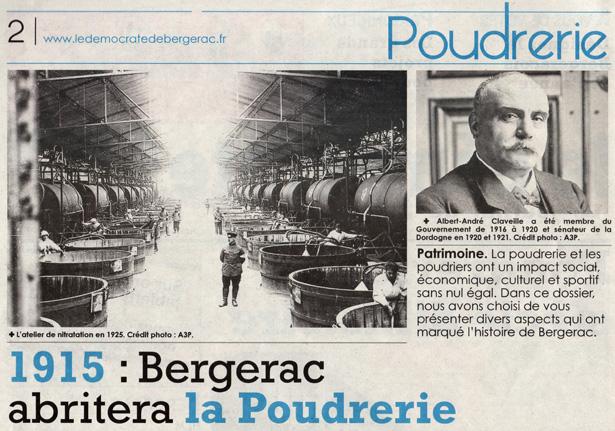 1915, Bergerac abritera la Poudrerie… dans Le Démocrate indépendant du 31 décembre 2014