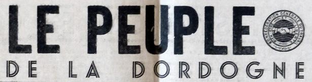"""Titre du journal """"Le Peuple de la Dordogne"""" (1945)"""
