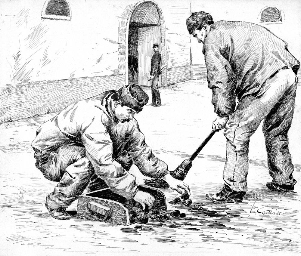 Sc ne de corv e dans une prison militaire dessin l on couturier 1920 histoire p nitentiaire - Dessin couturiere ...