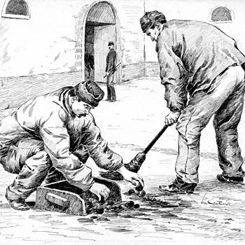 Dessin à la plume de Léon Couturier :  prisonniers travaillant dans une cour de prison militaire, vers 1920. Coll. Jacky Tronel