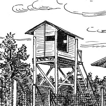 Dessin G. Lutz. Camp de prisonniers de guerre allemands de La Trémouille, Tulle, collection Yves Hermian