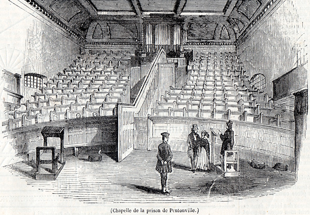 Chapelle cellulaire de la prison de Pentonville construite par Joshua Jebb en 1842. Source : journal L'Illustration du 20 avril 1844.