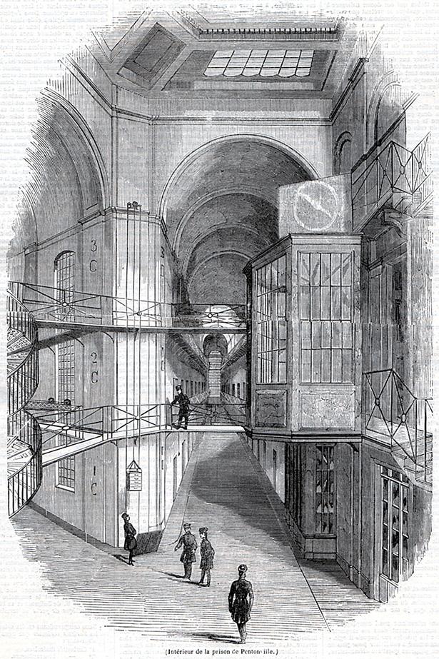 Intérieurde la prison cellulaire de Pentonville construite par Joshua Jebb en 1842. Source : journal L'Illustration du 20 avril 1844.