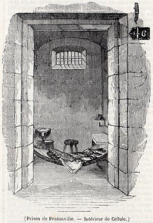 Intérieur d'une cellule de la prison de Pentonville construite par Joshua Jebb en 1842. Source : journal L'Illustration du 20 avril 1844.