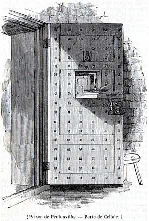 Porte d'une cellule de la prison de Pentonville construite par Joshua Jebb en 1842. Source : journal L'Illustration du 20 avril 1844.