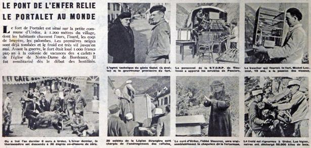 Dans son édition du 9 novembre 1941, le grand hebdomadaire d'actualités lyonnais Sept Jours, dirigé par Jean Prouvost, publie un article au titre évocateur : «Un reportage photographique : Le Portalet, enceinte fortifiée»