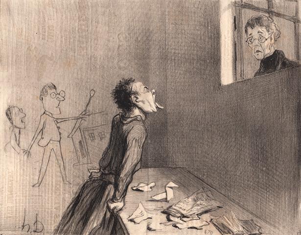 Album des «Professeurs et Moutards», 1845-1846, Honoré Daumier «Comme quoi l'emprisonnement cellulaire ne produit pas toujours d'excellents résultats». Lithographie publiée dans «Le Charivari» du 20 mars 1846.