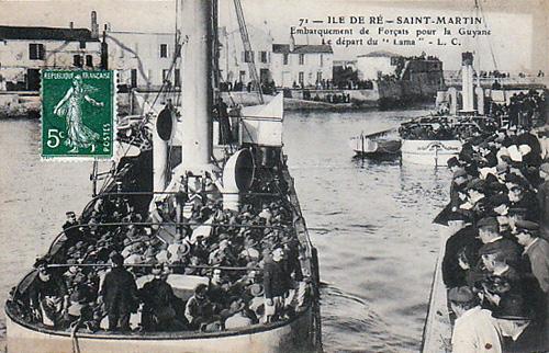 Saint-Martin de Ré, embarquements des récidivistes sur le Lama