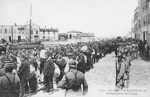 Saint-Martin de Ré. Embarquements de forçats pour les bagnes coloniaux