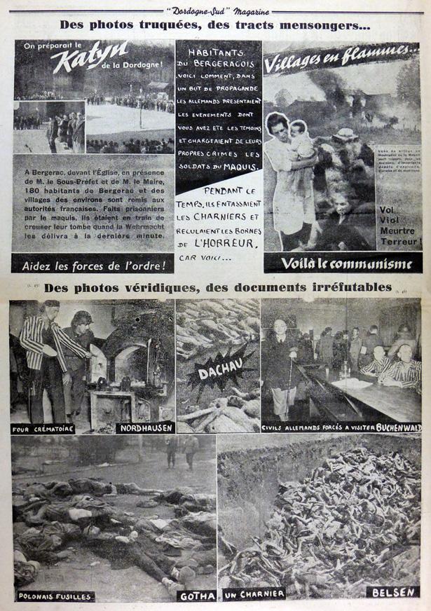L'hebdomadaire Dordogne-Sud du samedi 28 avril 1945titrait : «Des photos truquées, des tracts mensongers…»