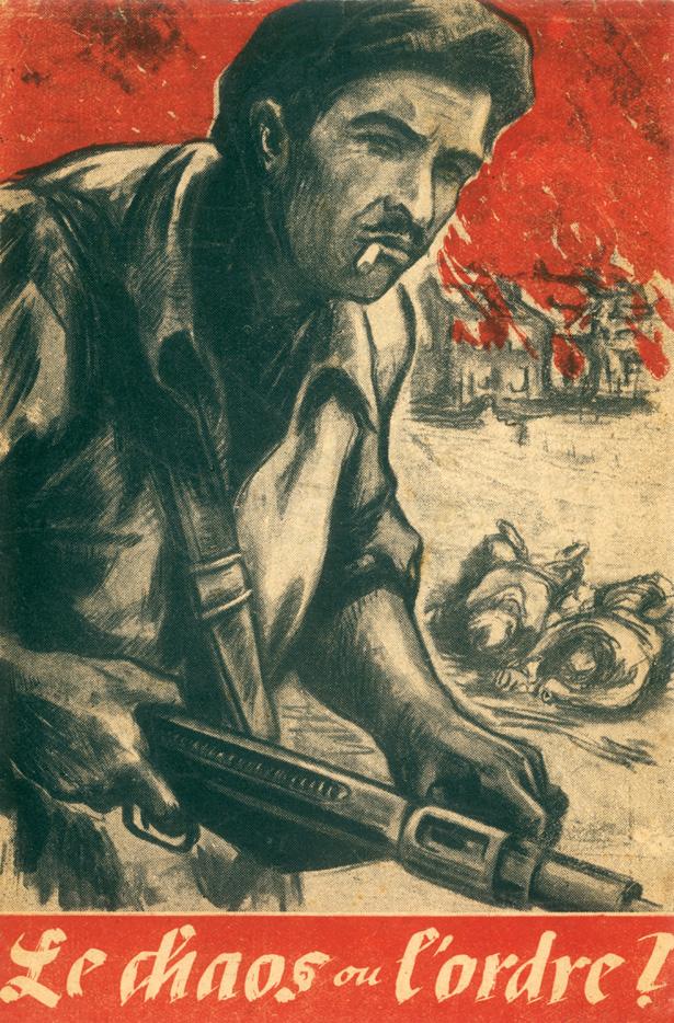 """""""Le chaos ou l'ordre"""", tract composé par les agents subversifs de l'opération Skorpion West suite au martyr du village de Mouleydier (Dordogne), le 21 juin 1944"""