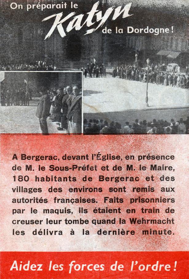 """""""On préparait le Katyn de la Dordogne"""", tract composé par les agents subversifs de l'opération Skorpion West suite au martyr du village de Mouleydier (Dordogne), le 21 juin 1944"""