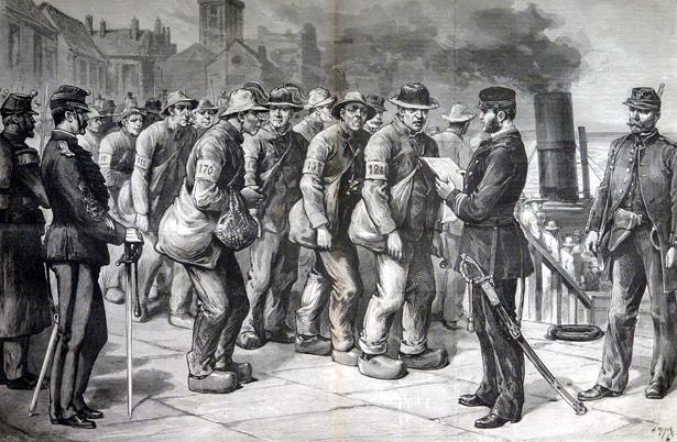 Le Journal illustré du 28 novembre 1886 – N° 48 «Saint-Martin-de-Ré: l'embarquement des récidivistes en partance pour l'île des Pins». Dessin de Henri Meyer – Gravure de Narcisse Navellier
