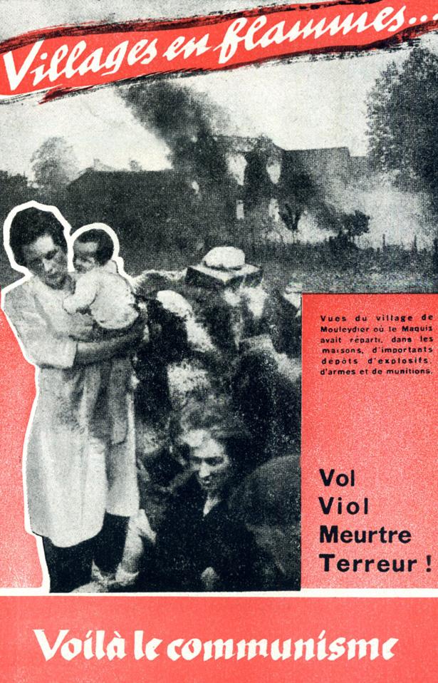 Tracts composé par les agents subversifs de l'opération Skorpion West suite au martyr du village de Mouleydier (Dordogne), le 21 juin 1944