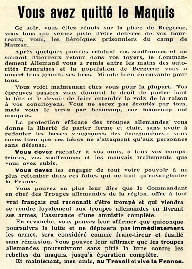 Tract d'intoxication de la cellule SS «Kurt Eggers»… Opération «Skorpion West» peu après l'attaque par la 11e Panzer Division du village de Mouleydier, situé à 10 km à l'est de Bergerac.