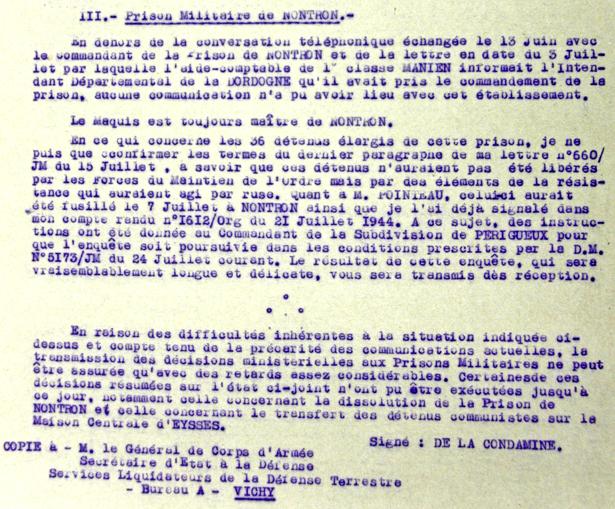 Rapport sur la prise de la prison militaire de Nontron, source Service historique de la Défense, département de l'armée de terre.