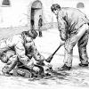 Scène de corvée dans une prison militaire, dessin Léon Couturier (1920)