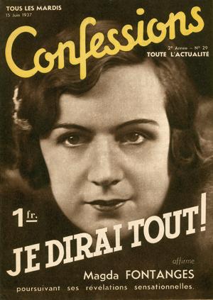"""Magda Fontanges révèle sa liaison avec Mussolini dans le journal """"Confessions"""" de juin 1937."""