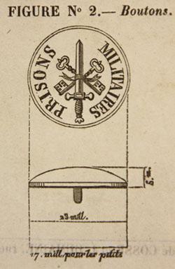 Bouton d'un uniforme de la Justice militaire, novembre 1849.