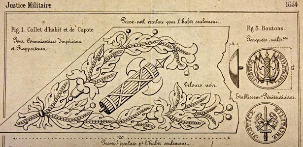 Collet d'habit et de capote du personnel de la Justice militaire selon les instructions de 1854