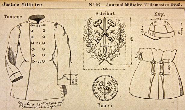 Détails de l'uniforme des sous-officiers de la Justice militaire selon les instructions du 31 mai 1869.