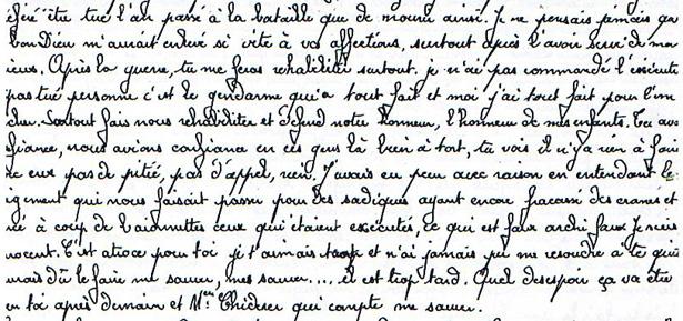 Extrait de la lettre de François Molet, fusillé au Mont Valérien, le 7 avril 1942 - Recto
